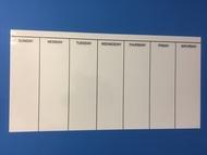 Calendario semanal adhesivo (120 x 60 cm), color blanco