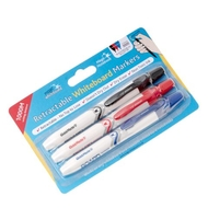 3 pack - Magic Whiteboard dry erase whiteboard markers 2mm - Black/Blue/Red - Retractable dry erase markers (no top to lose)