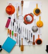 Tablero perforado para la cocina - Blanco - Grande - 80 x 60cm