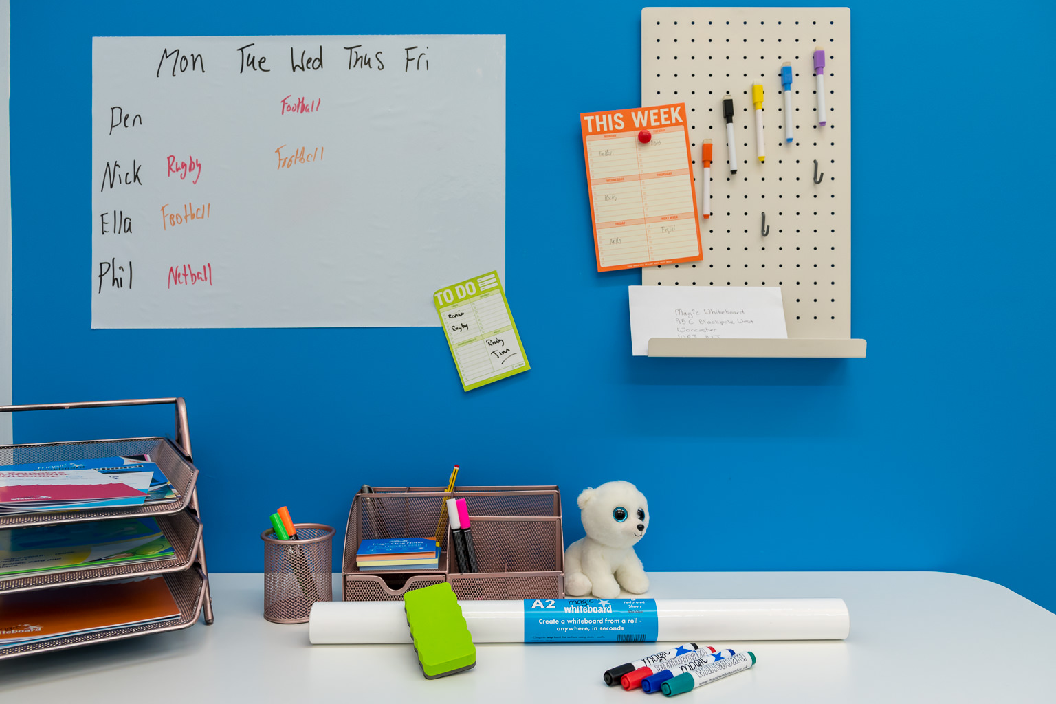 New White Office Pegboards and A2 Magic Whiteboard