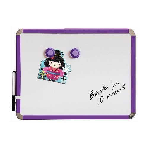 Pizarra de nevera magnética 28 x 36 cm. Púrpura. Incluye marcador de pizarra blanca e 2 imanes