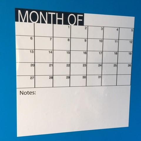 Adhesivo calendario mensual (50 x 50 cm), color blanco