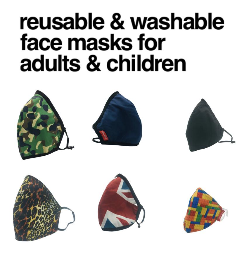 😷 Washable & Reusable Face Masks for Adults & Children